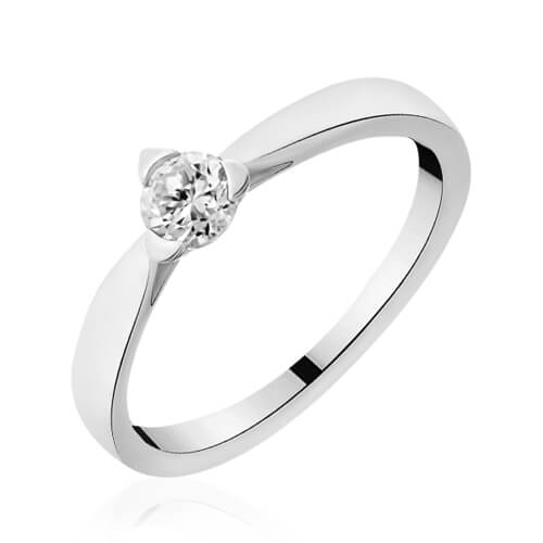 Solitaire or blanc diamant Cecilia